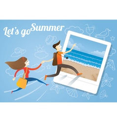 Couple run into Instant Frame Summer Picture vector