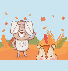 cute animal foliage hello autumn vector image