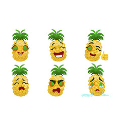 Cute funny pineapple cartoon character with vector