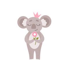 cute princess koala bear wearing pink crown vector image
