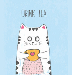 cute sketch cat with cup of tea vector image