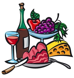 dinner with wine vector image