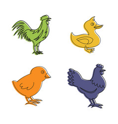 domestic bird icon set color outline style vector image