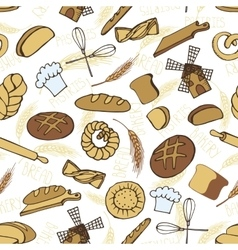 Doodle bakerybread seamless patternColored vector