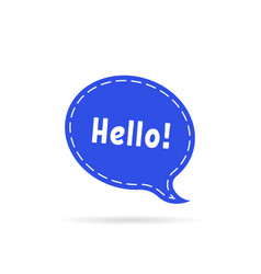 dotted speech bubble with hello word vector image
