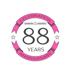 eighty eight years anniversary celebration logo vector image