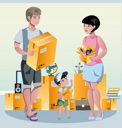 Family packing their stuff and prepare vector