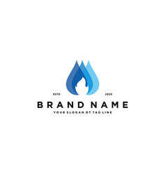 Fire water logo design vector