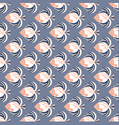 fish pink and blue sea life seamless pattern vector image