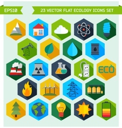 Flat ecology and energy icons vector