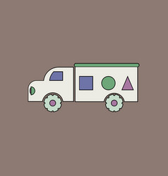 Flat icon design collection kids truck silhouette vector