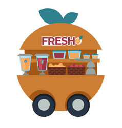 Fresh juice cart with squeezer and fruits baskets vector