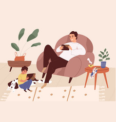 Gadget addicted parent and kid using mobile phones vector