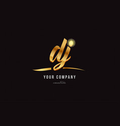 Gold alphabet letter dj d j logo combination icon vector