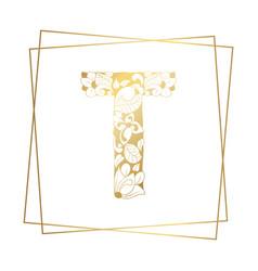 Golden ornamental alphabet letter t font on white vector