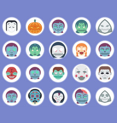 halloween monsters icon set sign symbol vector image