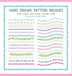 Hand drawn decorative paintbrushes set vector
