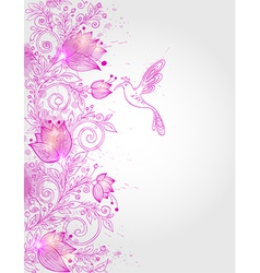 Hand drawn decorative pink floral background vector image