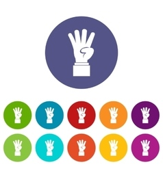 Hand showing number four set icons vector image