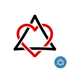 heart with triangle knot style logo weave celtic vector image