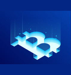 isometric bitcoin bit cryptocurrency mining farm vector image