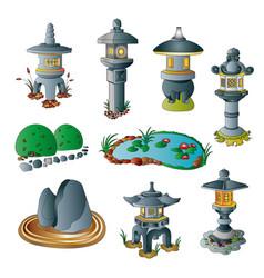 japanese garden decorative objects set vector image