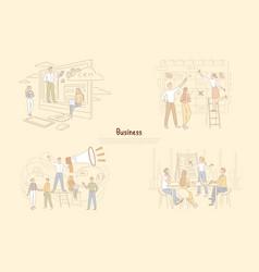 Leadership in business management businessmen vector