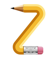 Letter z pencil icon cartoon style vector