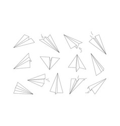 Linear paper planes drawing origami aircraft vector