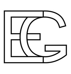 Logo sign eg and ge icon sign interlaced letters g vector