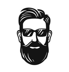 male head with glasses and haircut vector image