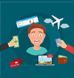 man tourist or agent booking travel buying vector image