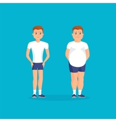 Man with fat abdomen and athletic vector