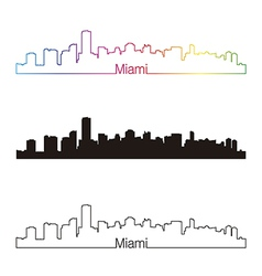 Miami skyline linear style with rainbow vector
