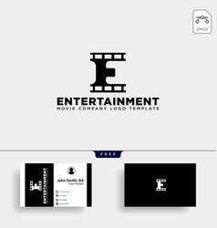 Minimal letter e cinema simple logo template icon vector