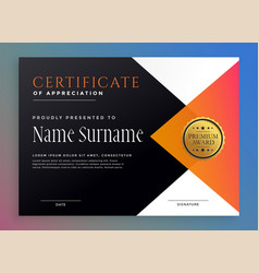modern certificate template with golden badge vector image