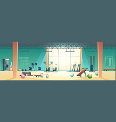Modern fitness club gym cartoon interior vector