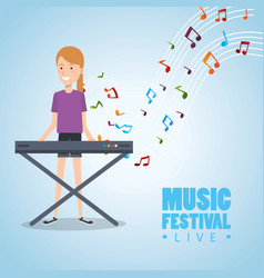 music festival live with woman playing piano vector image