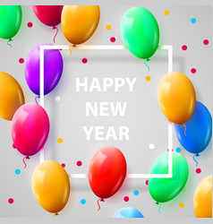 New year celebration poster with shiny balloons vector
