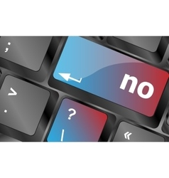 No - text on a button keyboard key keyboard keys vector image