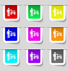 Person up hailing a taxi icon sign Set of vector