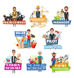 profession and job search icons staff hiring vector image