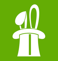 Rabbit appearing from a top magic hat icon green vector