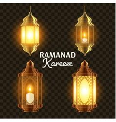 Ramadan lamp set islam kareem lamp vector