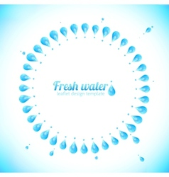 Realistic water drops circle frame vector image