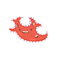 red toothy viruses or bacteria emoticon character vector image