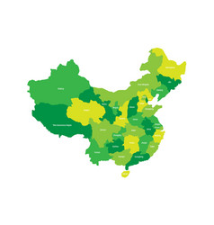 regional map of administrative provinces of china vector image