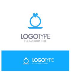 ring heart proposal blue logo vector image