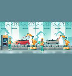 Robotized car factory cartoon concept vector