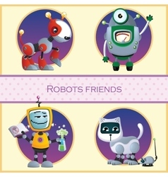 Robots friend four cartoon character vector image